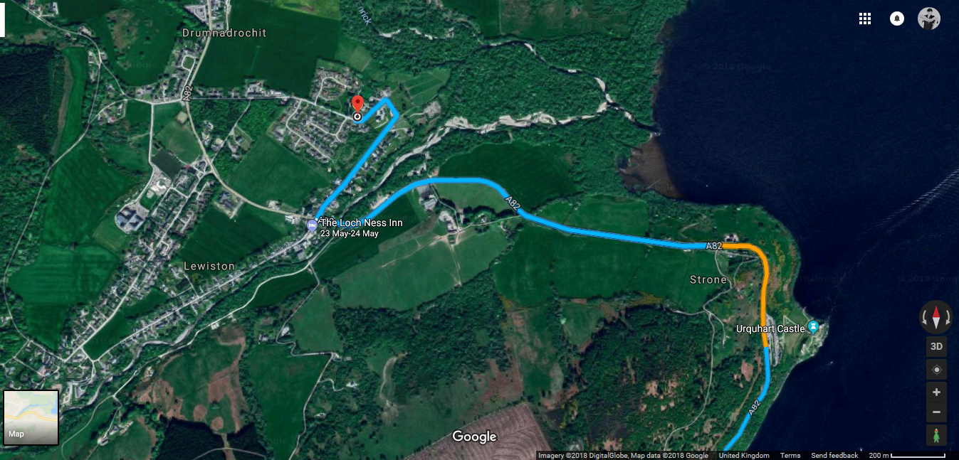 Fort William to Drumnadrochit Directions a82 Close up